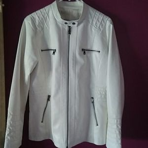 WHITE LEATHER JACKET.  BRAND NEW